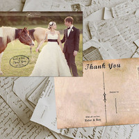 "50 Wedding Thank You Card - Bordeaux Vintage Photo Personalized 4""x6"""
