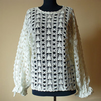 White Hand Crochet Women's Jumper with long sleeves