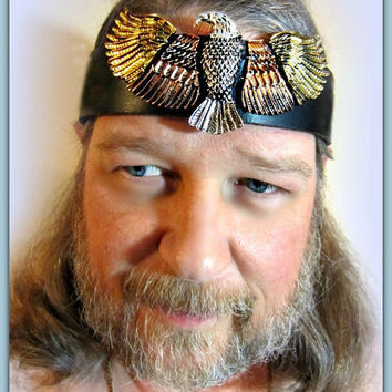 Eagle Headpiece, Native American, Black Leather Headband, Tribal Ritual, Burning Man