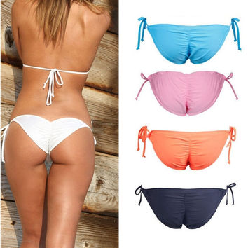 73ccf2f49a Women Tie Side Swimwear Sexy Scrunch Brazilian Ruched Semi Thong Bikini  Bottom   1956978884