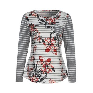 Women Spring Long Sleeve Button Back Printing Floral Tops Blouse T- Shirt