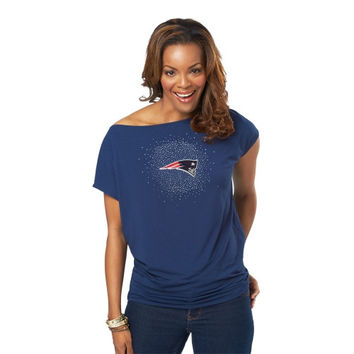 Meesh and Mia New England Patriots Ladies Off-the-Shoulder Top - Navy Blue