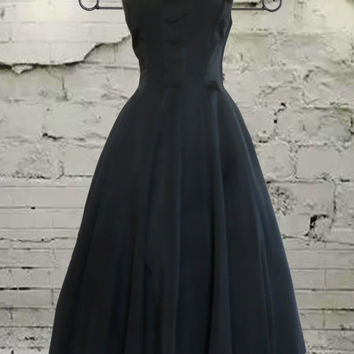 DAZZLING vintage 50s 1950s black dress with full circle skirt - cocktail party dress