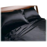 California King Size Satin Sheet Set in Black