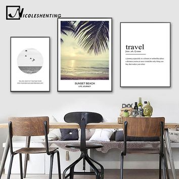 Scandinavian Style Landscape Wall Art Canvas Poster Quotes Sea Leaf Sunset Tropical Decoration Print Painting Decorative Picture