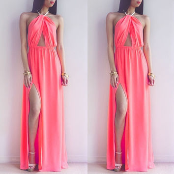 New Sexy Women's Pink Halter Backless Sleeveless Split Long Maxi Party Cocktail Beach Dress 7_S = 1905828228