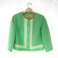 vintage 60s lime green suit jacket. spring wool jacket.