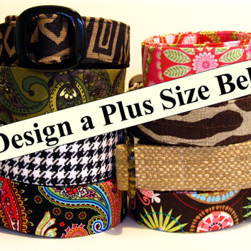 Plus size Belt / Women's Large Belt / Long Fabric Belt / Custom D-Ring Belt / XL Belt