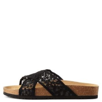 Black Crochet Crisscross Footbed Slide Sandals by Charlotte Russe