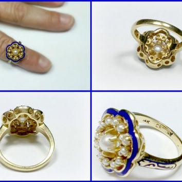Vintage 14k Pearl Ring Size 6.5 Royal Blue Enamel 1940's Crosby Solid Yellow Gold with Enamel on Top Rim and Sides of Shank Well-Made Nice!!