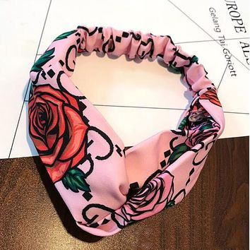 GUCCI Original Wide Print Headband Cross - G - Letter Rose Totem Hair Band Cloth Art Variety Headband Hair Decoration Pink I12163-1