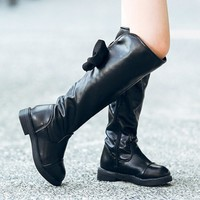 2017 Autumn winter children boots female princess boots Knee high boots Bowknot Keep Warm Thickening Girls Snow Boots shoes