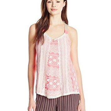 Jolt Womens Lace Front Swing Tank with Contrast Straps