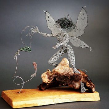 Magic Fairytale Sculpture Unique Art Gift whimsical home decor funny wonderland Metal Art Wire Statue Fairy tale Wishes. Feeding the Fish.