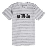 All Time Low-Unisex Ash/White Stripe T-Shirt