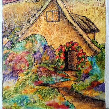 Original Painting Watercolor On Tissue Zen Inspired Fantasy ROSE ARBOR COTTAGE Flower Garden Free Shipping Lynne French
