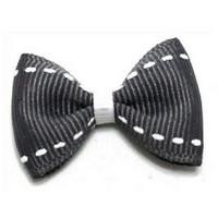 White Dashes Top Knot Bow — Gray