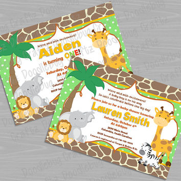 Printable SAFARI Theme - Baby Boy Shower or Birthday Party Invitation - Elephant, Giraffe, Lion, Zebra - Personalized 24hr Turn Around
