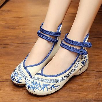 Ankle strap 1/2 inch wedge casual shoes / flats with embroidered bamboo