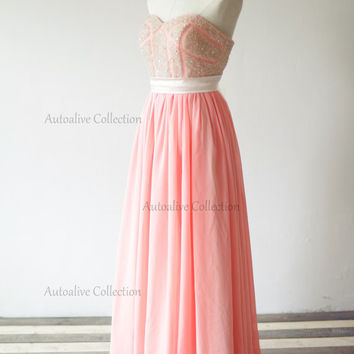 Coral Chiffon Beaded Crystals Wedding Dress/Bridesmaid Dress/Prom Party Dress Strapless Sweetheart Dress
