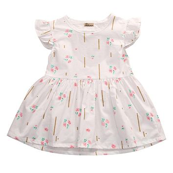 Toddler Kids Dress for Girls Wedding round neck sleeveless Party Backless Floral cotton Vintage Tutu Dresses one pieces