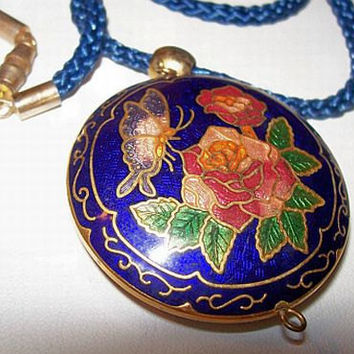 Vintage Pendant Silk Cord Necklace Blue Red Pink Enamel Cloisine Asian Inspired Barrel Clasp 26""