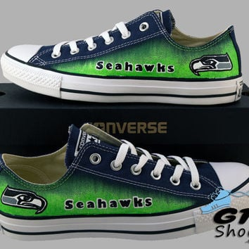 Hand Painted Converse Low Sneakers. Seattle Seahawks. Go Hawks. Football. Superbowl.12th man. Handpainted shoes. V2 Grey eyes.