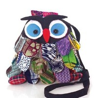 Cute Fabric Outdoor Multi Pattern Small Owl Cross Body Shoulder Bag with Drawstring (Black)
