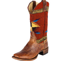 Women's Stetson Red Serape Chocolate Cowboy Boots