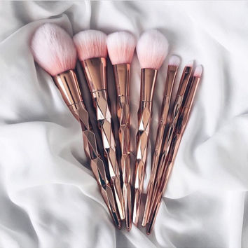 Luxe- Makeup Brush Unicorn Rose Gold Brush Makeup Brushes Set 7pcs Rhinestone Tools Powder Foundation Eye Lip Concealer Face colorful Brush Kit