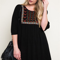 Embroidered Tunic Dress - Curvy