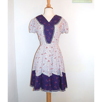 70s Square Dance Dress . by Kate Schorer Originals. Purple Floral . Swing Circle Skirt . Size S