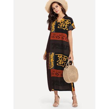 Hieroglyphic Print Longline Dress