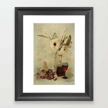Wine And Wildflowers Framed Art Print by Theresa Campbell D'August Art