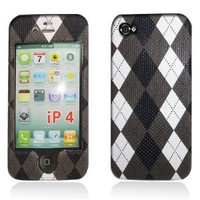 Apple iPhone 4 & 4S Snap-on Protector Hard Case Texturized Argyle Pattern Design