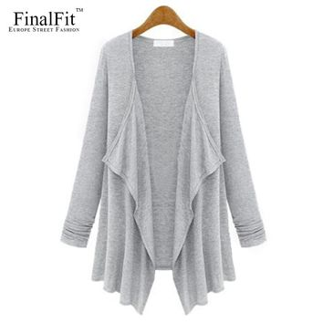 FinalFit Cardigan Women, Spring&Autumn Irregular Open-Front Loose Drape Cardigan Female