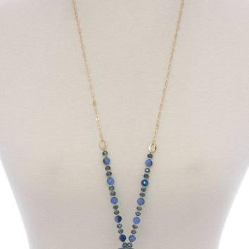 Textured circle pendant beaded long necklace