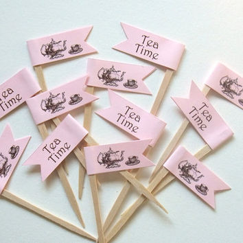 Tea Time Cupcake Toppers - Bridal Shower-  Engagement -  Wedding  - Food Picks