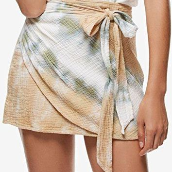 New Free People Women's When The Tide Turns Mini Skirt Cotton Fitted Natural