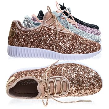 Remy18 Rose Gold by Forever Link, Lace up Rock Glitter Fashion Sneaker w Elastic Tongue & White Outsole