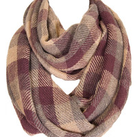 Soft Classic Brown Checkered Plaid Infinity Loop Scarf