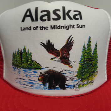 Vintage 80's Alaska Land Of The Midnight Sun Red Snapback Mesh Trucker Hat Bear and Eagle Tourist Hat 1980's