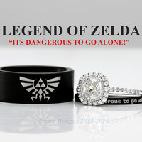 Zelda Triforce His and Her's 2piece Engagement SET