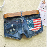 Cool Denim Wash Distressed American Flag Shorts