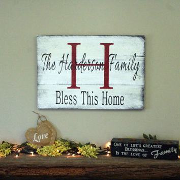 Personalized Family Name Sign Pallet Sign Custom Wood Sign Rustic Sign Shabby Chic Decor Handmade Wood Sign Bless This Home Distressed Wood