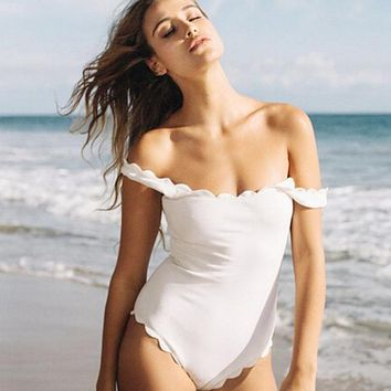 2018 One Piece Swimsuit Floral Border Swimsuits Ruffle Swimwear Swimming Suit For Girl Off The Shoulder