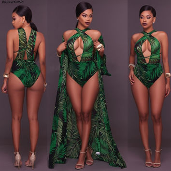 BAICLOTHING Beach Cover Ups+ swimsuit set 2017 sexy women print green leaves Cover Up one piece swimsuit set Robe de Plage