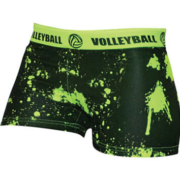 SVFORZA Splat Neon Green Spandex Volleyball Short - Volleyball.Com