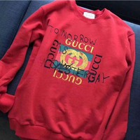 GUCCI Fashion Casual Women Long Sleeve Print Sweater Pullover Sweatshirt Red G