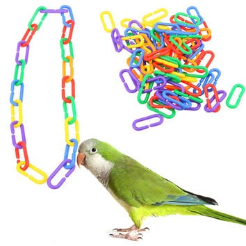 100pcs/lot  Plastic C-clips Hooks Chain C-links Sugar Glider Rat Parrot Bird Toy Parts